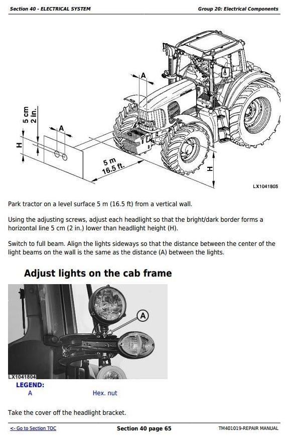 John Deere 6225, 6325, 6425, 6525 European Tractors Service Repair Manual (TM401019)