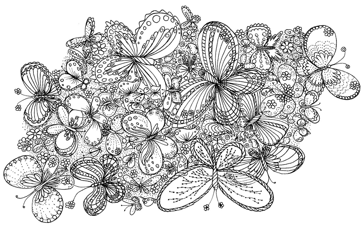 Swarm of Butterflies Coloring Page