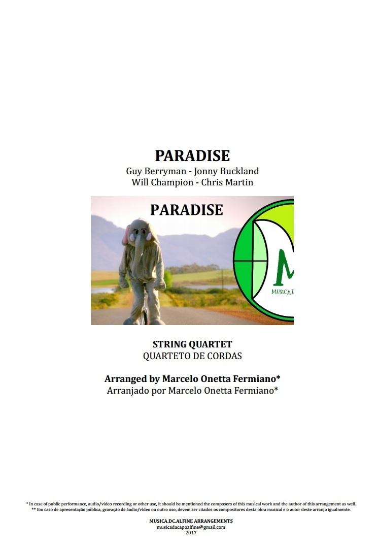 Paradise | Coldplay | Quarteto de Cordas | Partitura Completa | Download
