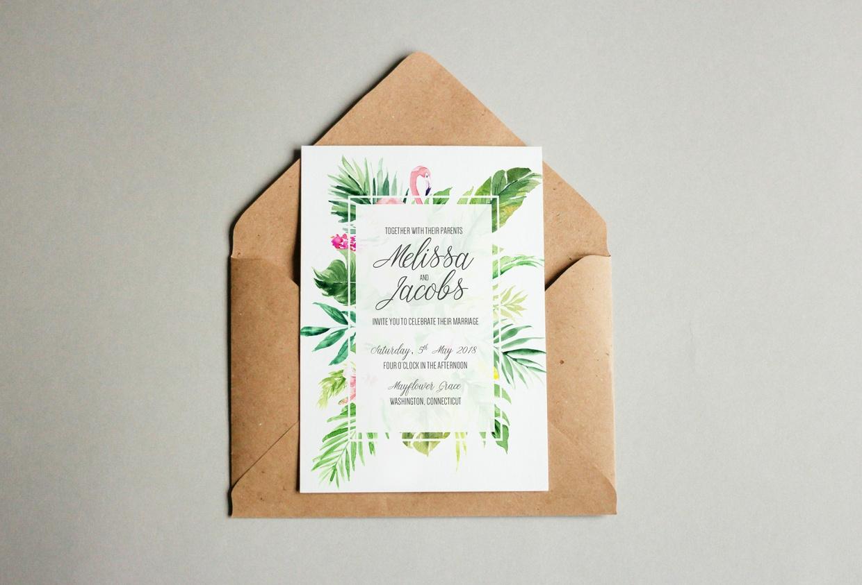 Free Tropical Flamingo Wedding Invitation Template