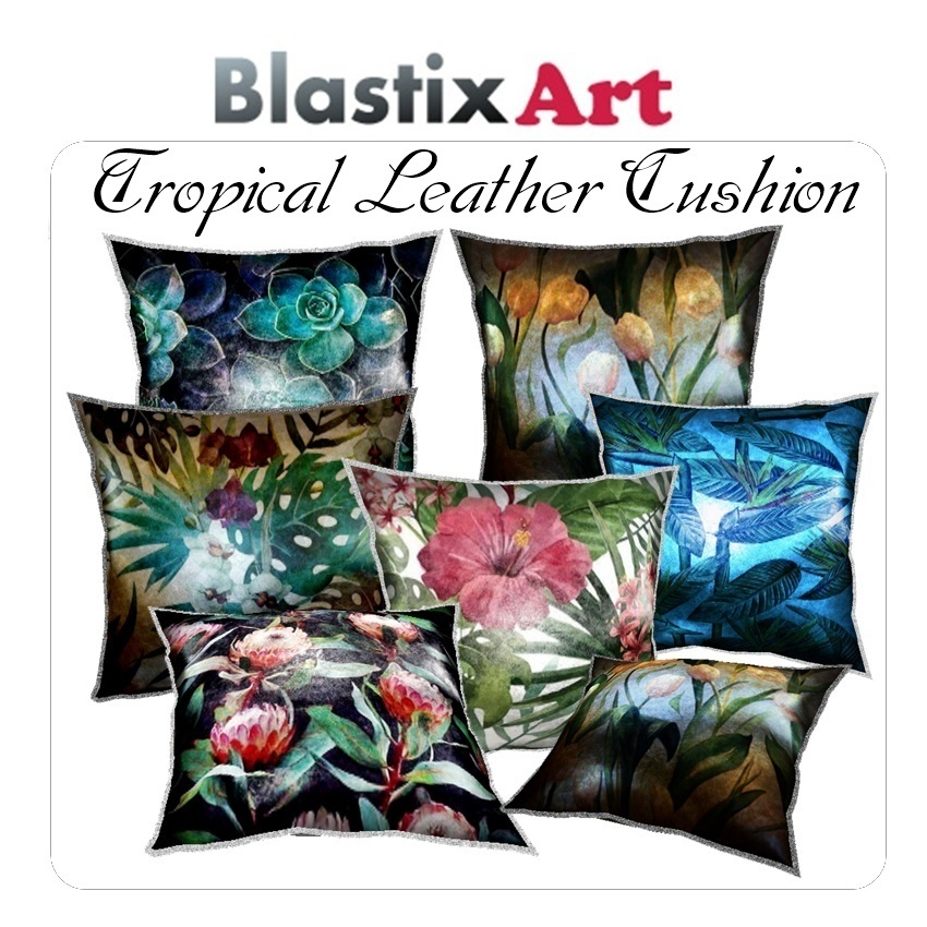 Tropical Leather Cushion By CaryR