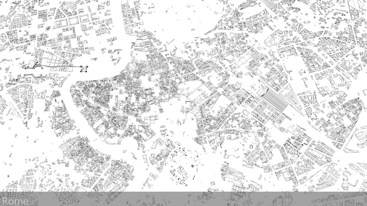 Rome Streets and Buildings Architectural 3D Model