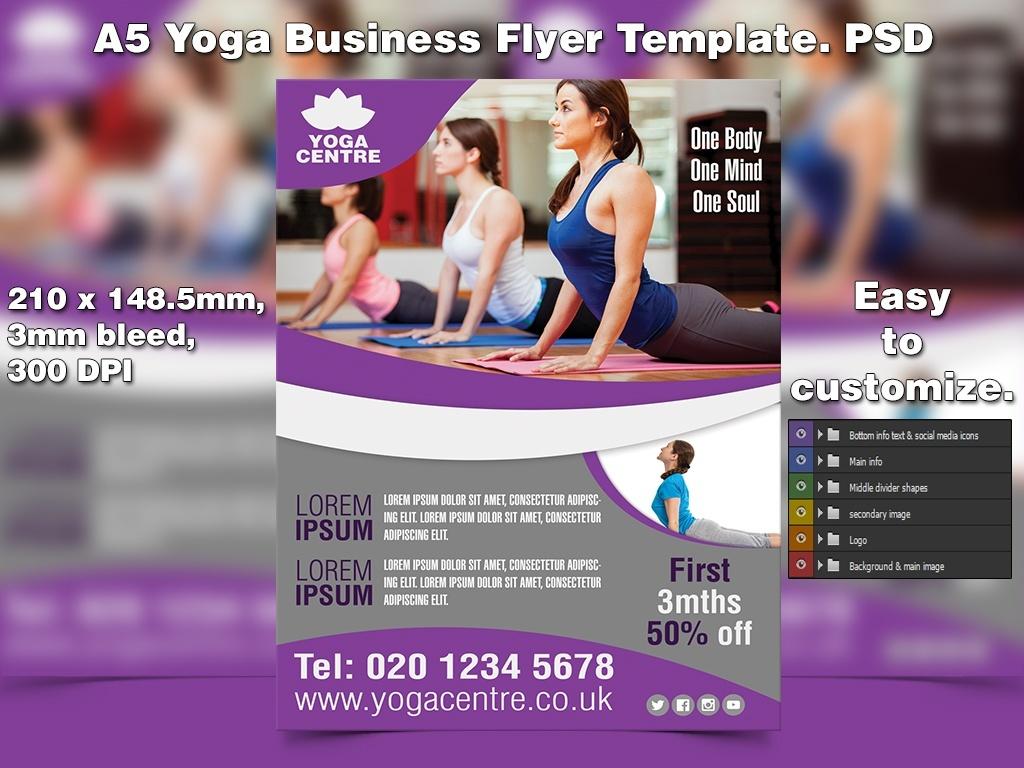 A5 Yoga Business PSD Flyer Template 3