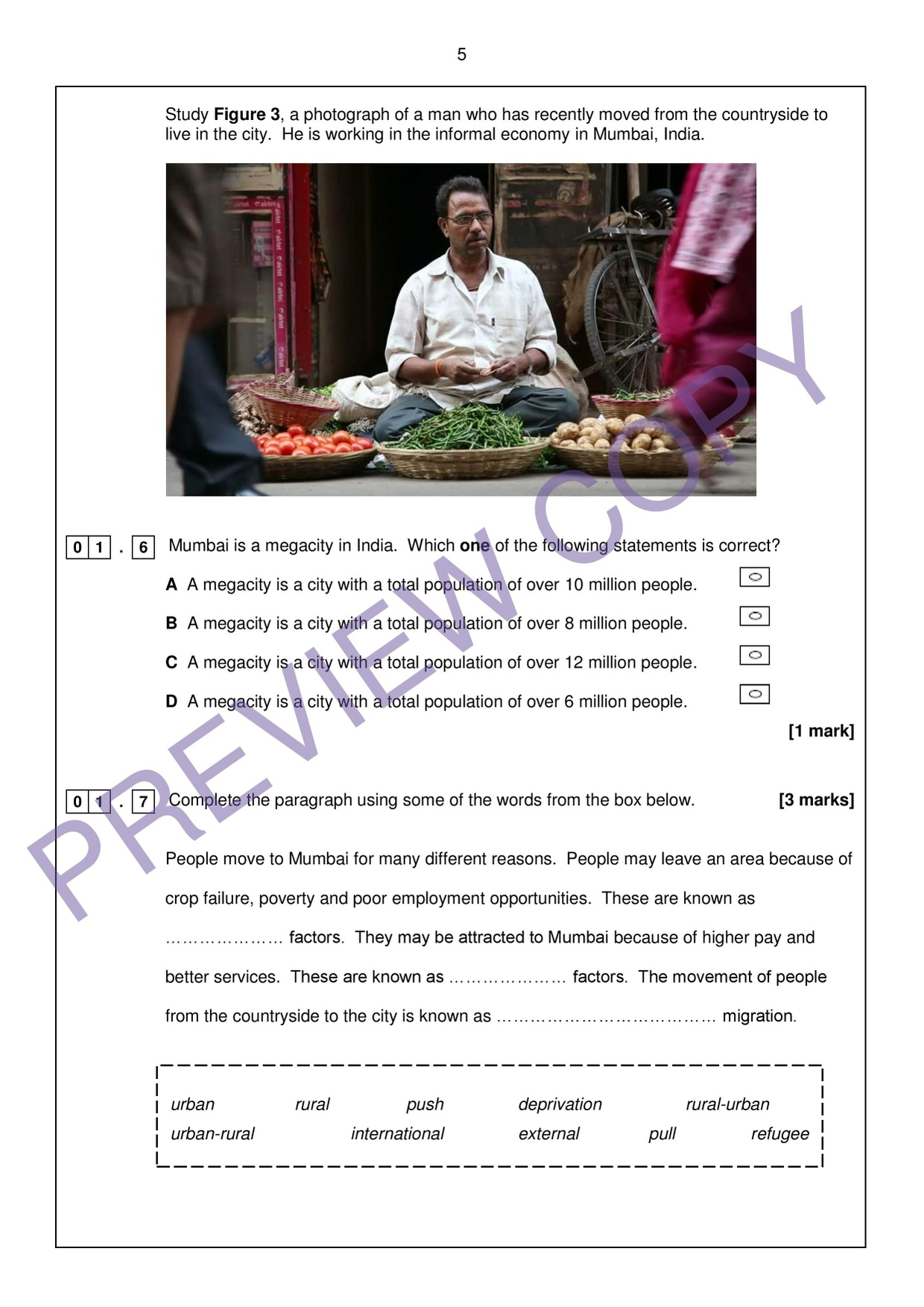 AQA GCSE Geography (9-1) - Practice Exam Paper and Mark Scheme - Urban Issues and Challenges