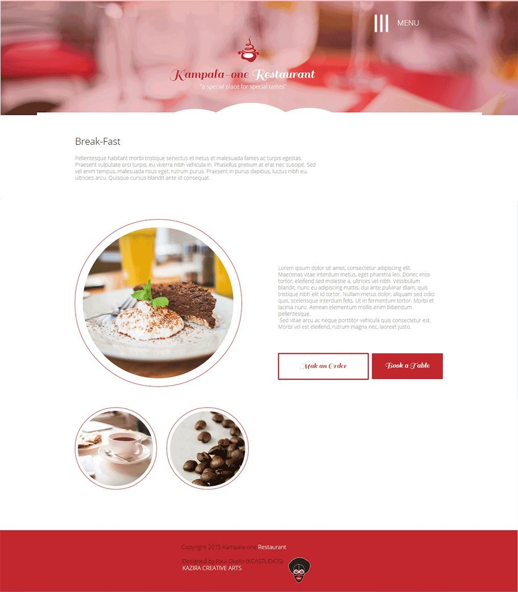 Kampala One Restaurant Premium Multiple Page Website