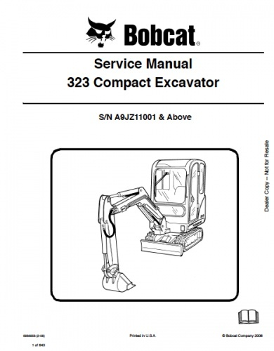 Bobcat 323 Excavator Service Repair Manual PDF S/N A9JZ 11001 and up