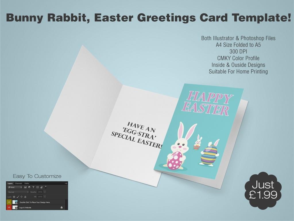 Bunny Rabbit, Easter Greetings Card Template 1 - (AI & PSD)