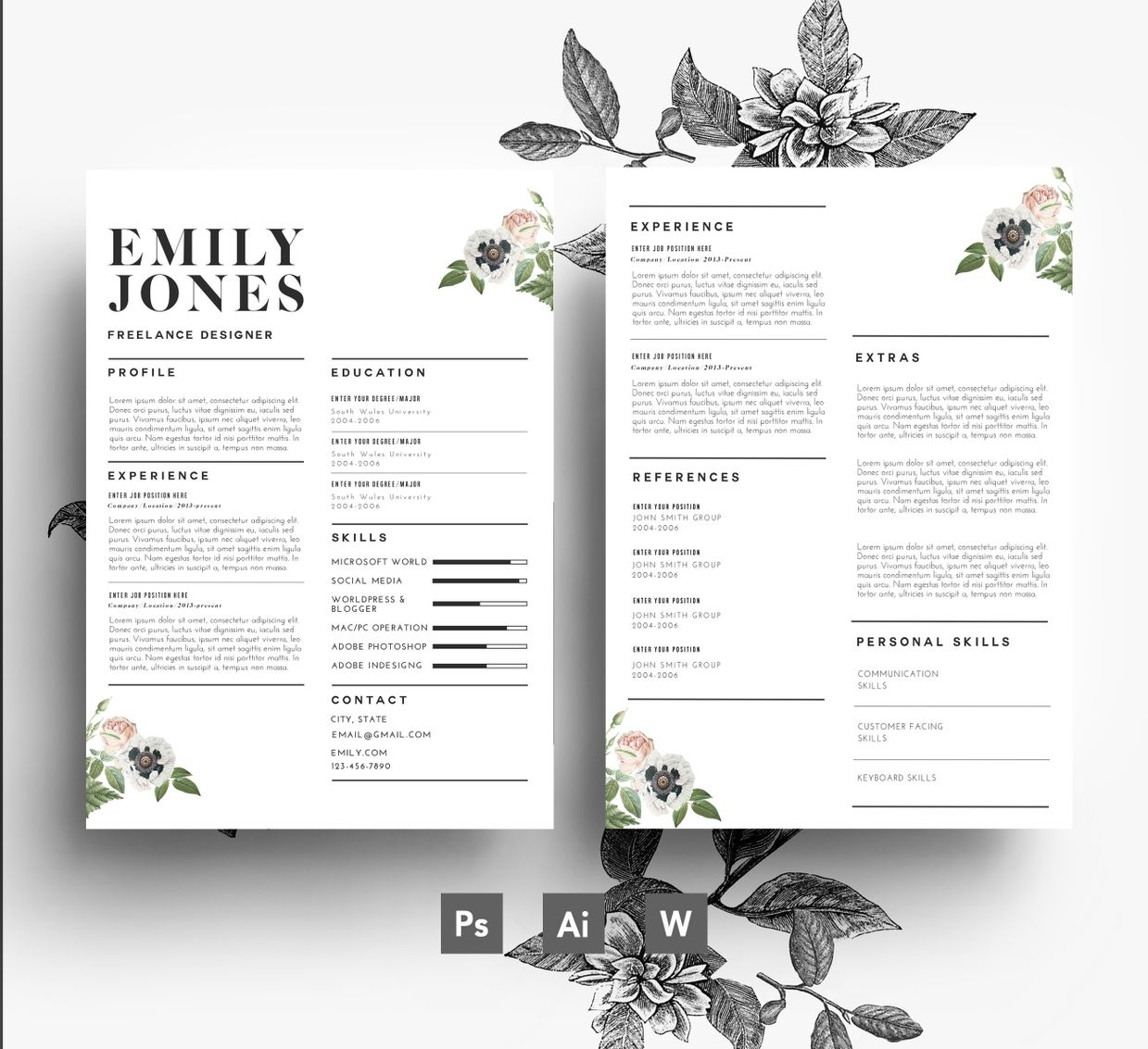 2 page cv template 1 page cover letter word psd 3 page