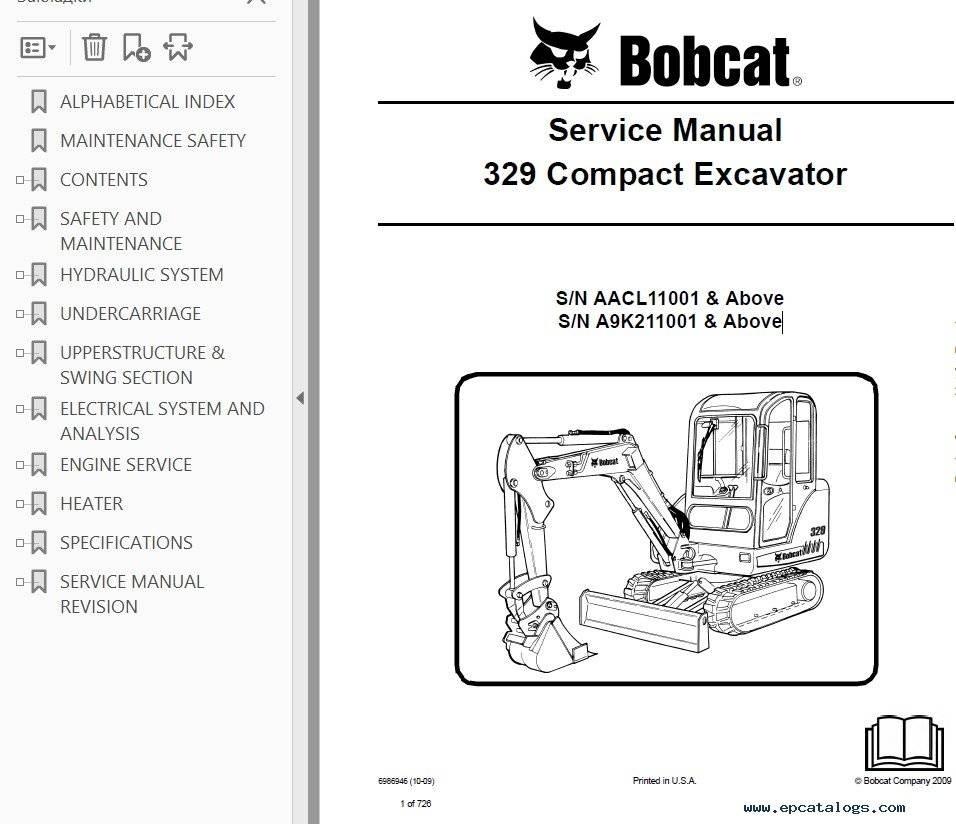 Bobcat 329 Excavator Service Repair Manual PDF S/N AACL or A9K2