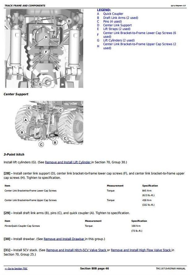 John Deere 9470RT, 9520RT, 9570RT Tractors Repair Manual (TM119719)