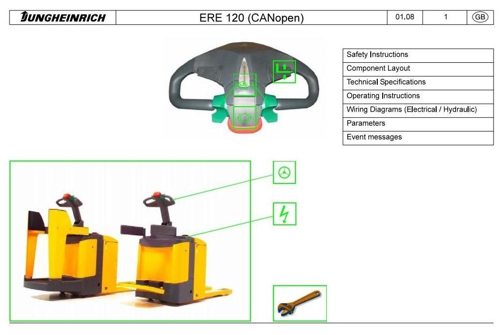 Jungheinrich Electric stacker Type ERE 120 (05.2008-07.2012) Workshop Service Manual