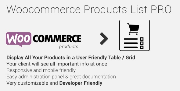 Woocommerce Products List Pro 1.1.7 Extension
