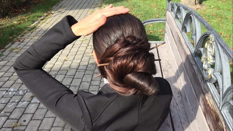 Mila hair show bun, braids