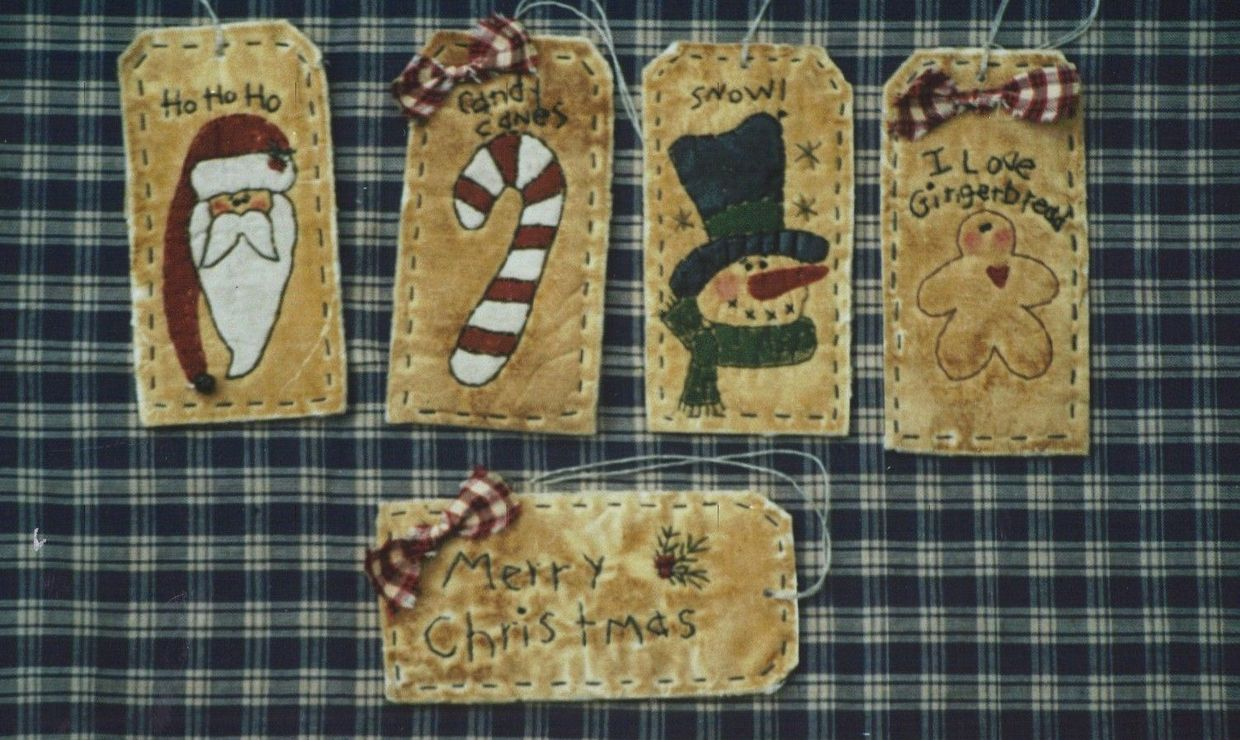 #01 Prim Christmas Tag Stitchery Ornaments E Pattern