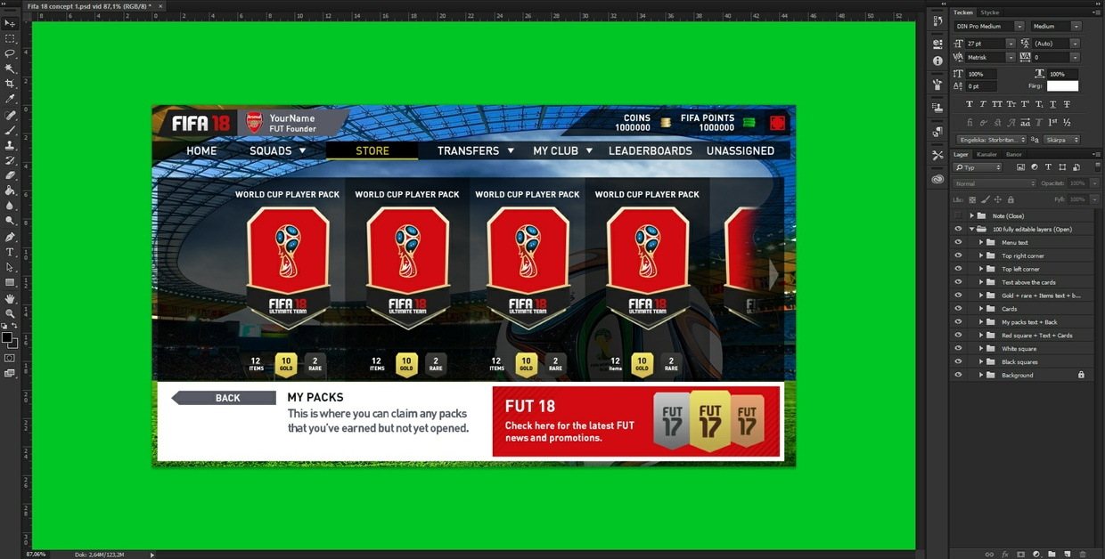 Fifa 18 pack opening concept/template