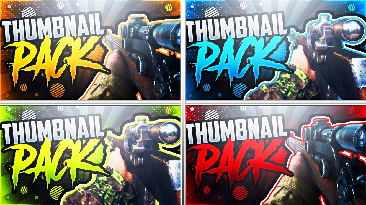 Call of Duty: WWII Sniper Rifle Thumbnail Template Pack - YouTube Thumbnail Template for Photoshop