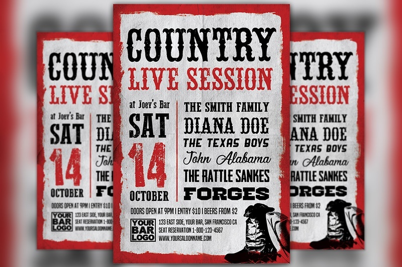 Country Live Session Flyer Template