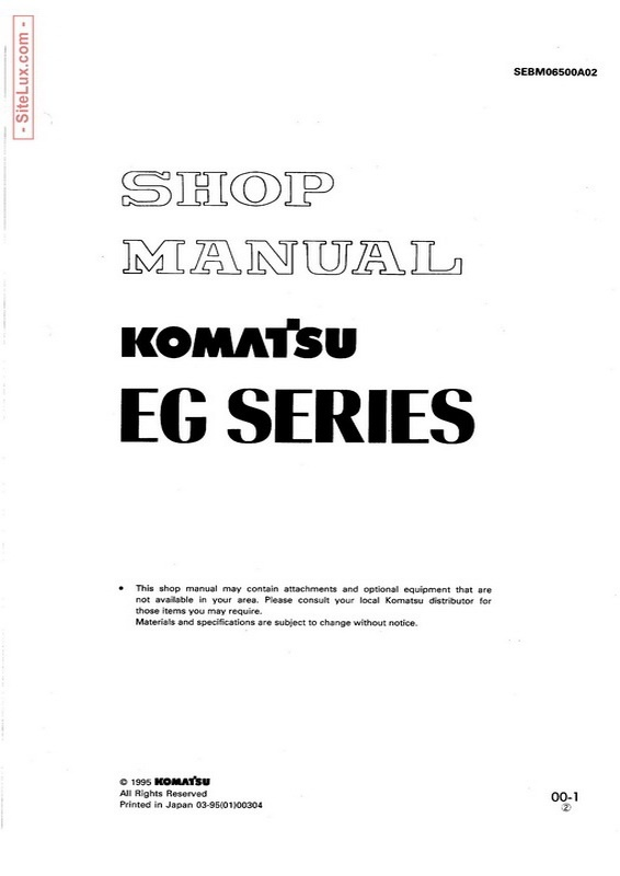 Komatsu EG Series Engine Generator Shop Manual - SEBM06500A02
