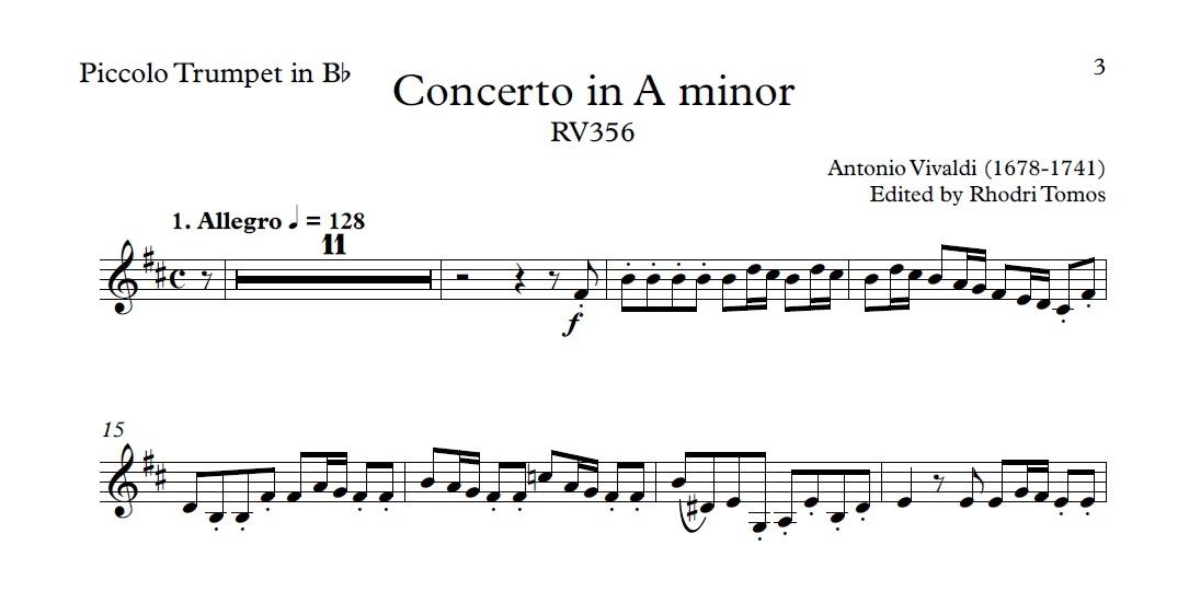 Vivaldi RV356 Concerto in A minor - Violin & piccolo trumpet play along mp3 & solo sheet music pdf