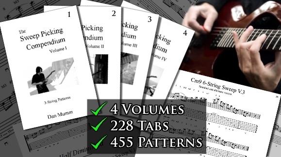 Dan Mumm's Sweep Picking Compendium - Complete - all 4 Volumes - 4 eBooks, 228 Tabs, 455 Patterns