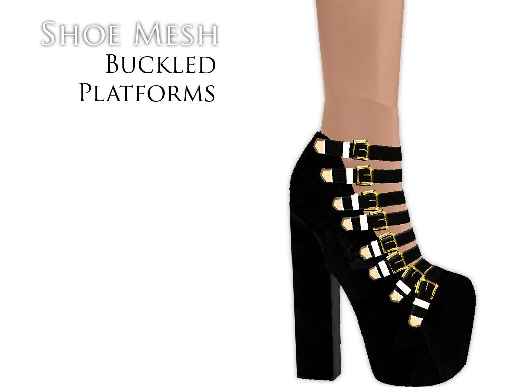 IMVU Mesh - Shoes - Buckled Platforms