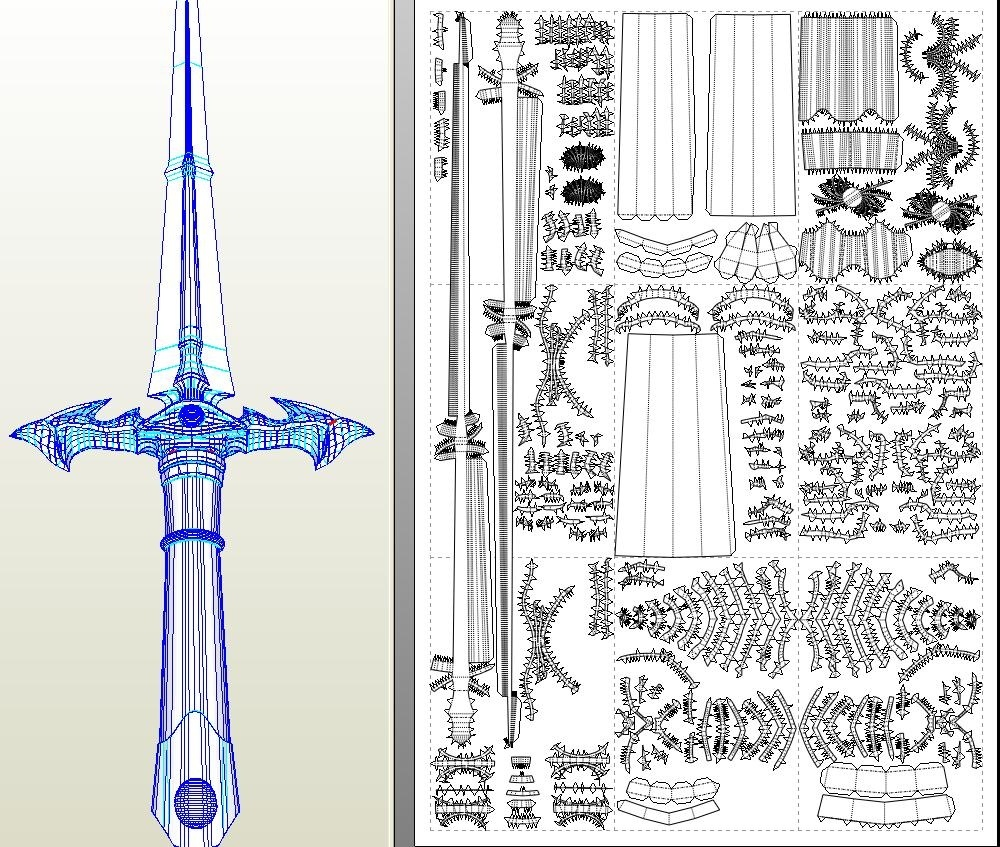 Lodoss War Soul Crusher Sword CP66 A4 Paper PDO File