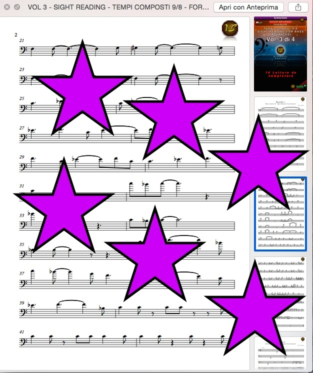 VOL 3 - SIGHT READING - TEMPI COMPOSTI 9/8 - FOR BASS (ADVANCED) ONLY PDF FORMAT