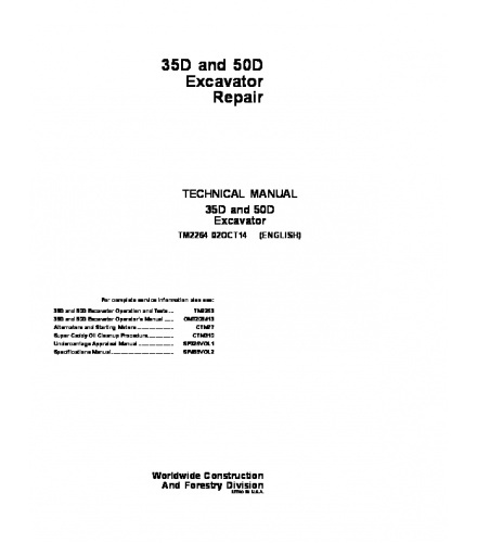 PDF DOWNLOAD John Deere 35D, 50D Excavator Service Repair Manual TM2264