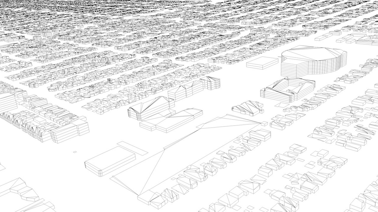 South Los Angeles Streets and Buildings Architectural 3D Model