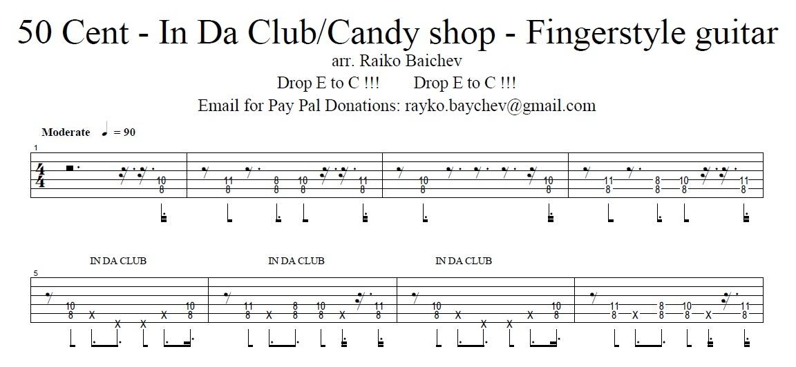50 Cent - In Da Club/Candy Shop - Tab