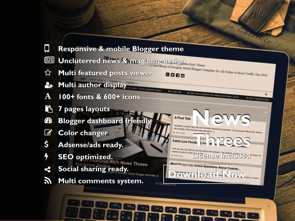 NEWS THREES (PRO) - Easy News & Magazine Styled Premade Blogger Template/Theme (License)