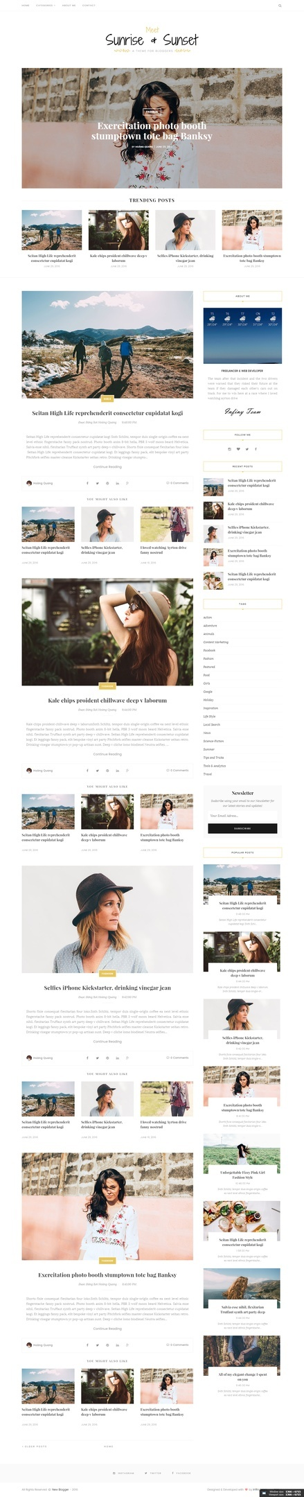 Sunrise Sunset Blogger Template Premium Version