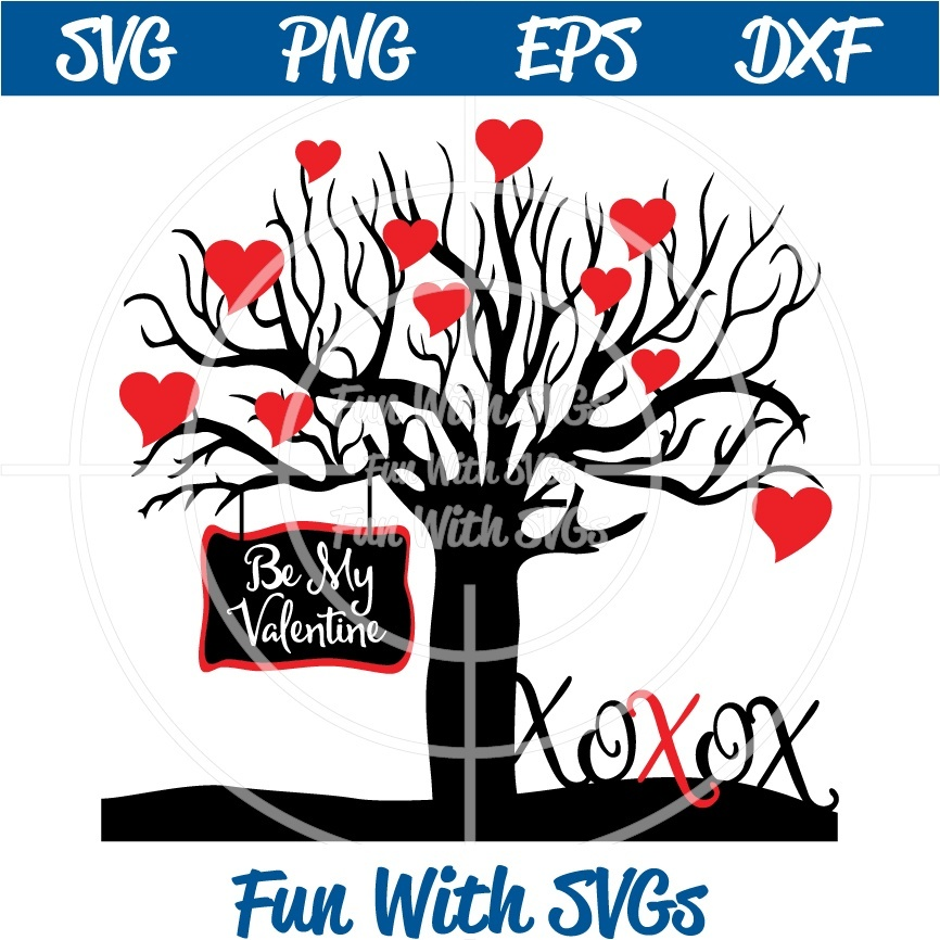 Valentine Tree of Hearts, Be My Valentine, xox, SVG Files for Your Personal Cutting Machine