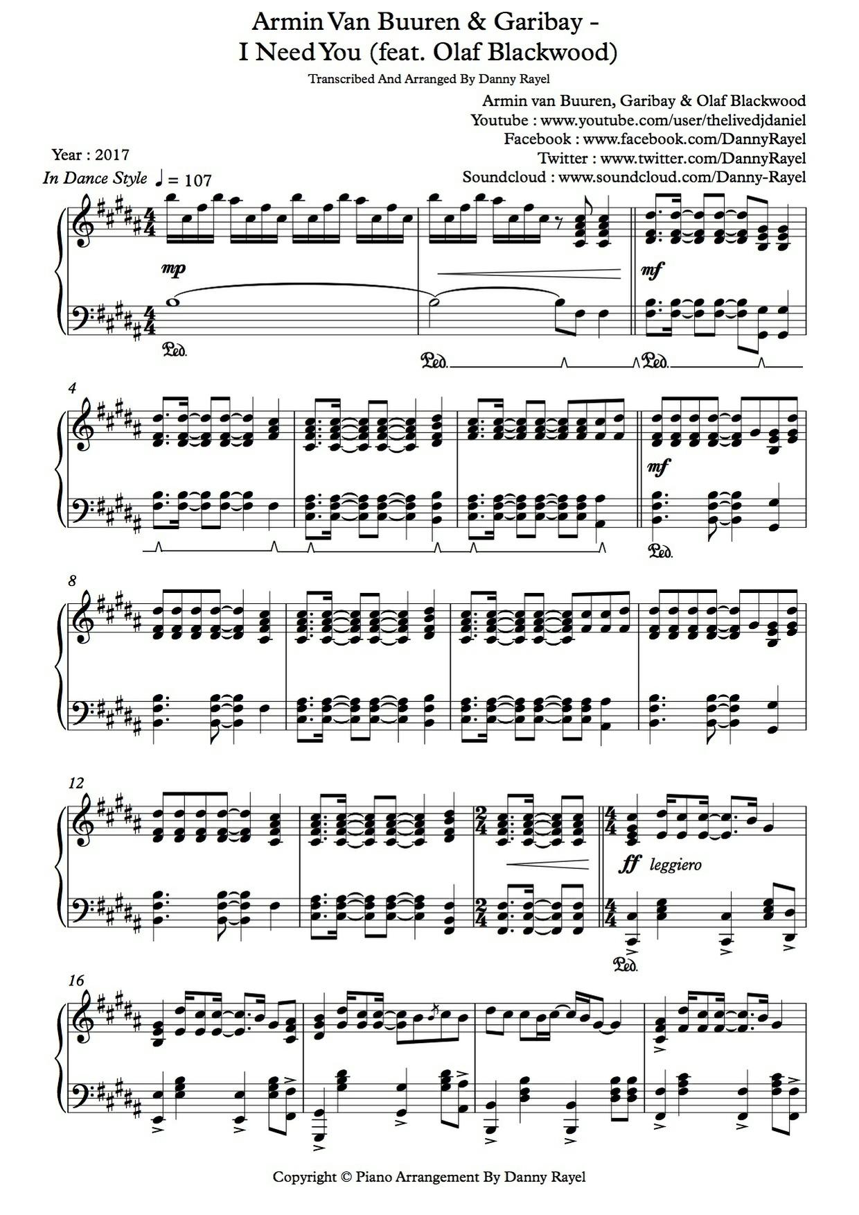Armin van Buuren & Garibay - I Need You (feat. Olaf Blackwood) (P.A By Danny Rayel) (Sheet Music)