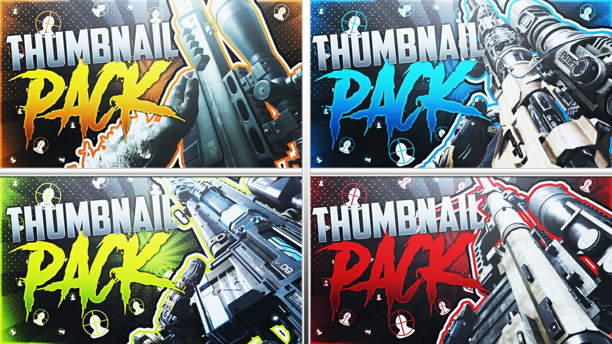YouTube Thumbnail Template Pack - Call of Duty Snipers - Photoshop Template
