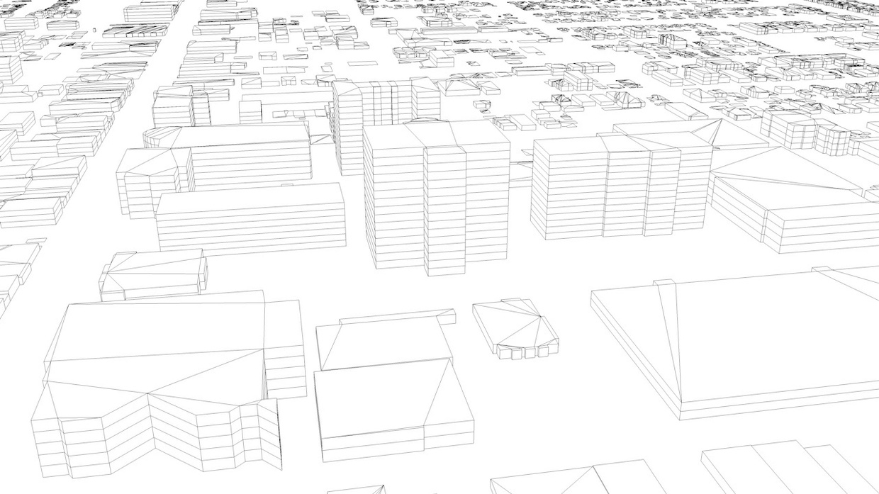 Northern Los Angeles Streets and Buildings Architectural 3D Model