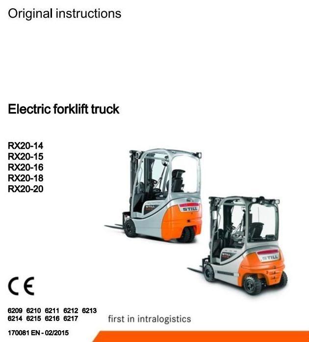 Still Forklift Truck RX20-15-16-18-20:6209, 6210, 6211, 6212, 6213, 6214,6215,6216,6217 User Manual