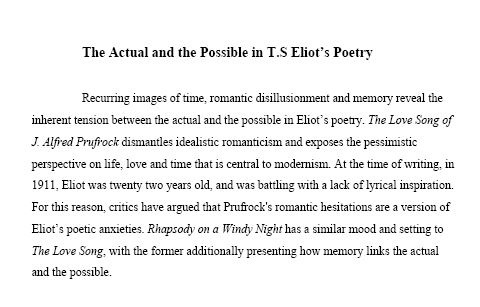 T s eliot the lovesong essay
