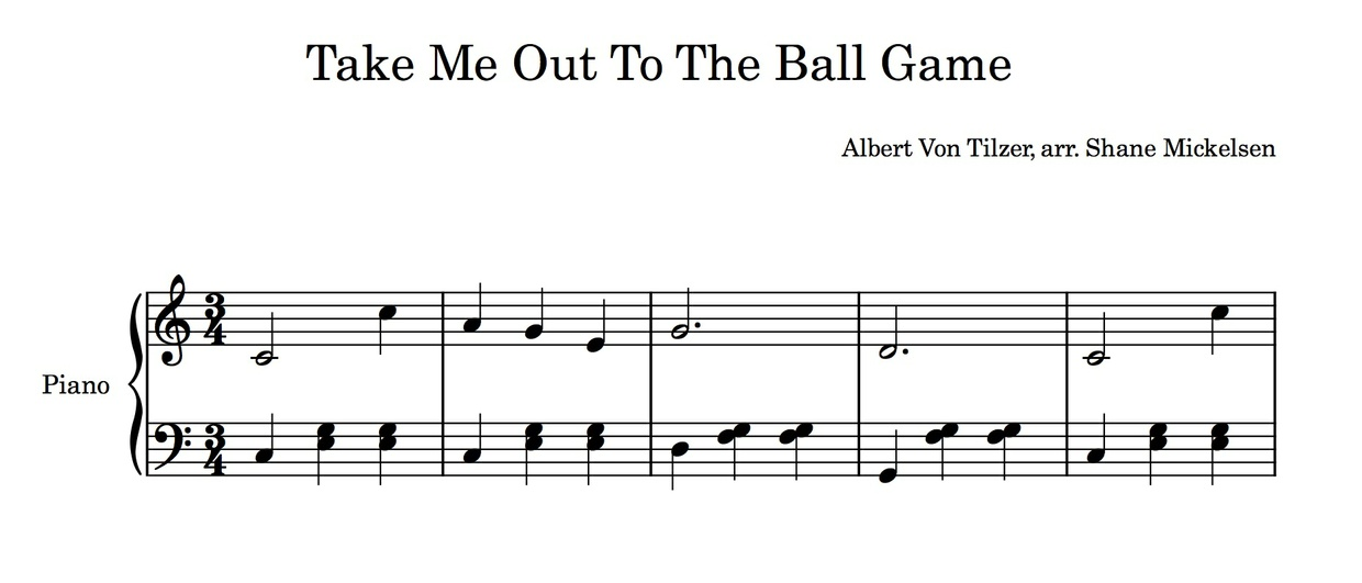 Take Me Out To The Ball Game - Beginning Piano Solo