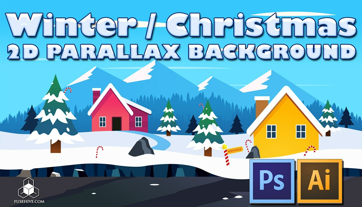Winter / Christmas Village - 2D Cartoon Snowy North Pole Parallax Background