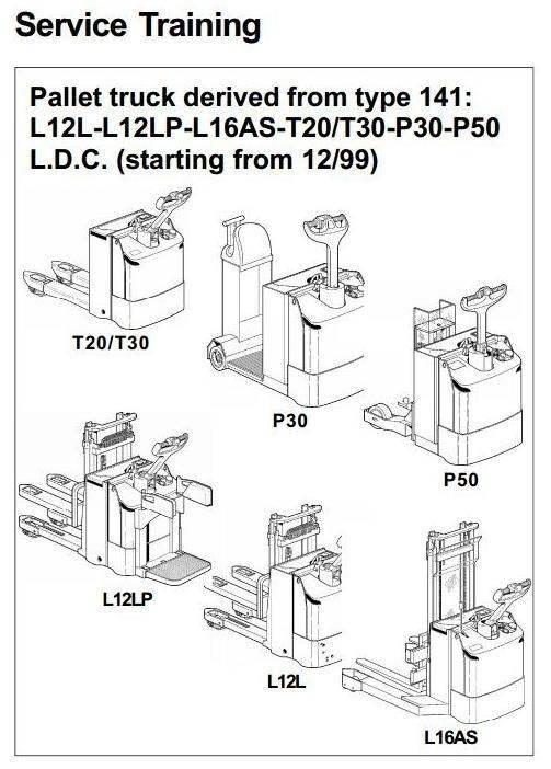 Linde Pallet Truck Type 141: L12L, L12LP, L16AS, P30, P50, T20, T30 Service Training Manual