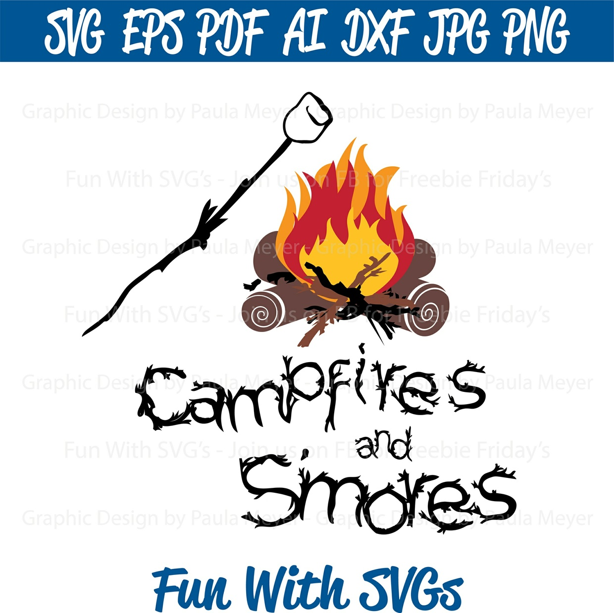 Campfires and S'mores - SVG Cut File, High Resolution Printable Graphic and Editable Vector Art