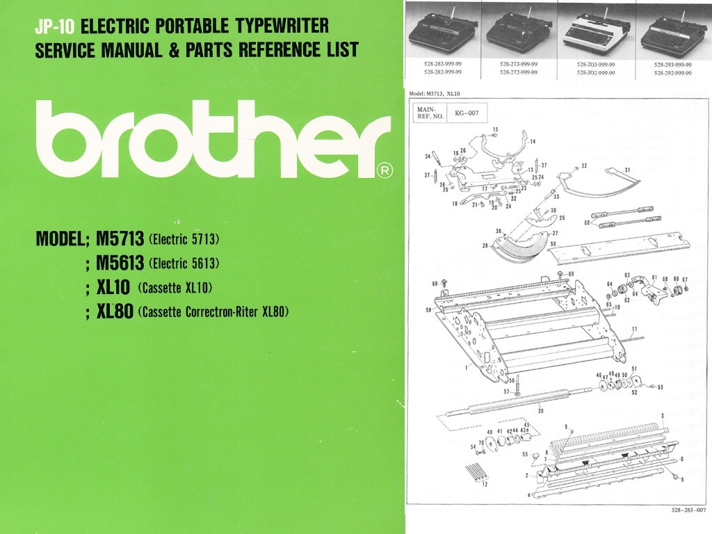 Brother JP-10 Electric Portable Typewriter Repair Adjustment Service Manual