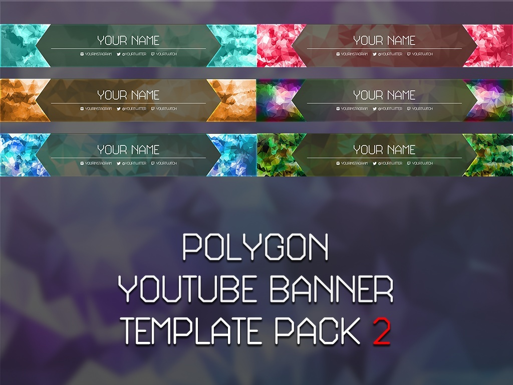 Polygon YouTube Banner Template Pack 2