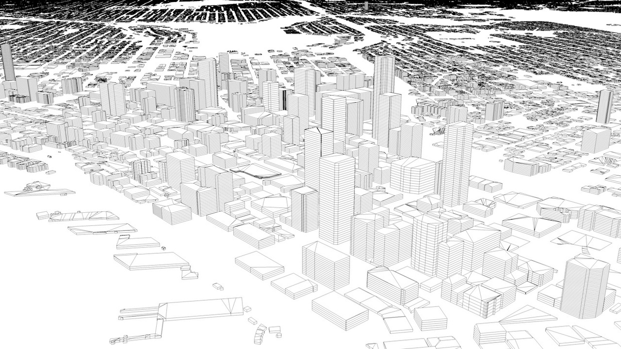 Seattle Streets and Buildings Architectural 3D Model
