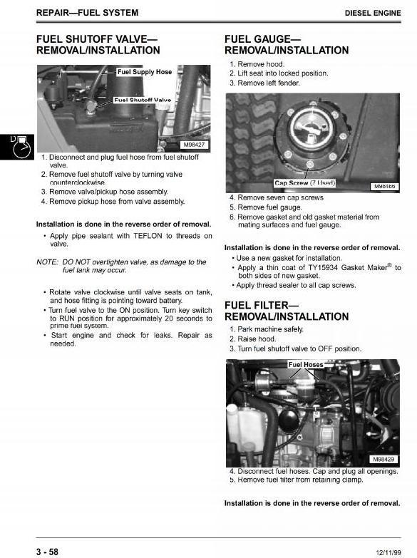 John Deere Front Mower F735 Technical Manual (Workshop, Service, Repair)