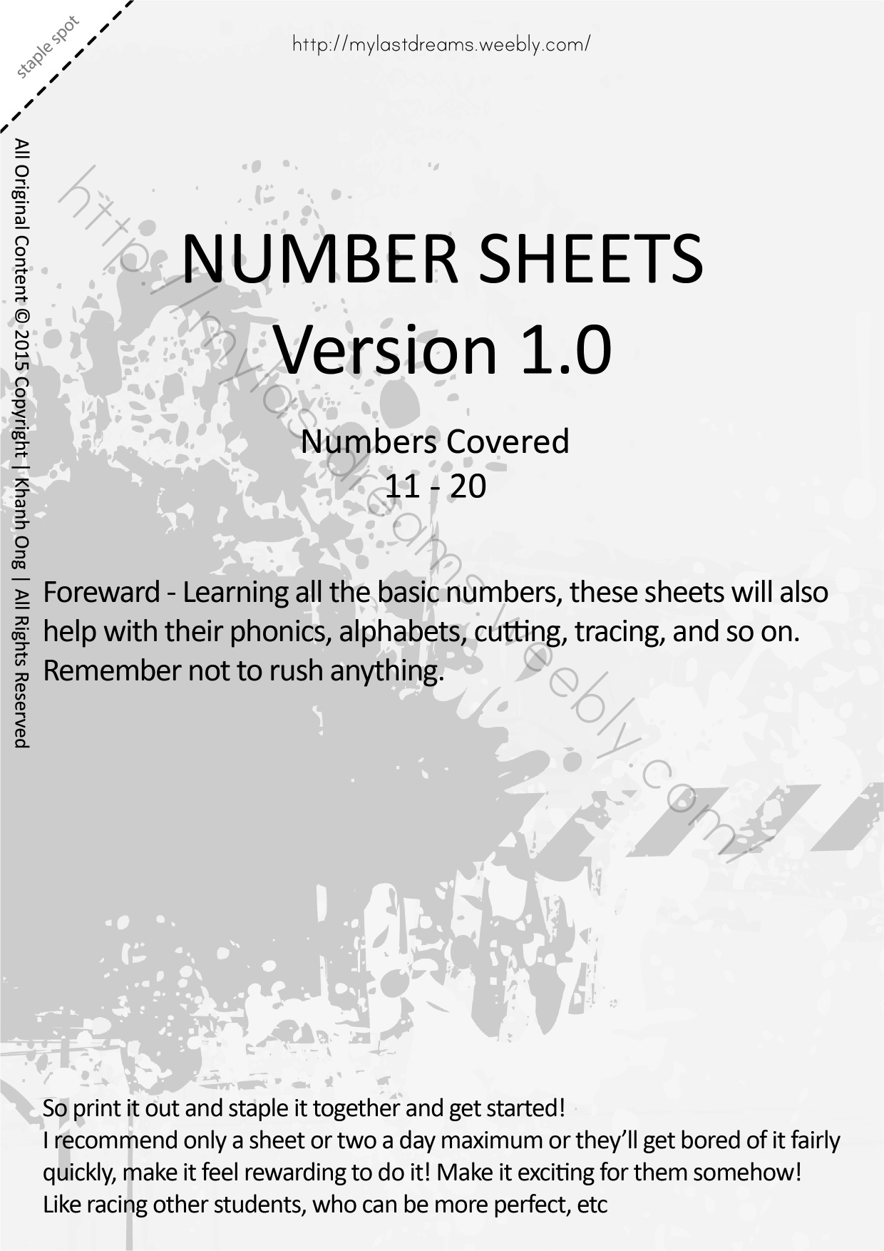 MLD - Basic Numbers Worksheets - Part 2 - A4 Sized