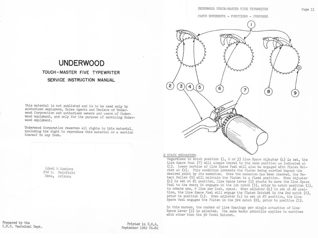 Underwood Touchmaster Five TM-5 Standard Typewriter Service Repair Adjustment Manual