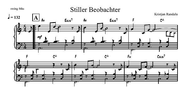"""""""Stiller Beobachter"""" Leadsheet Score"""