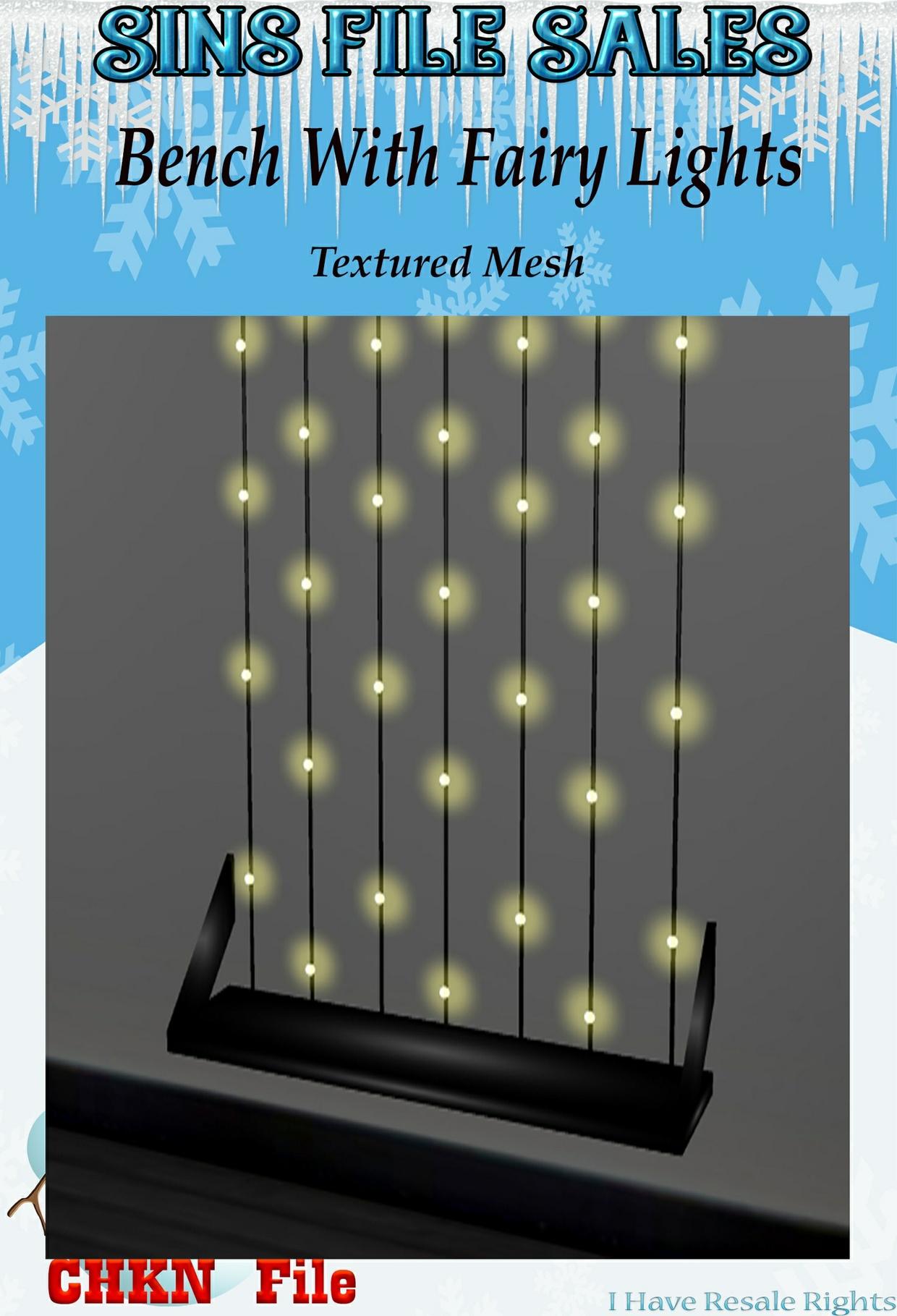 Bench w/Fairy String Lights (CHKN)